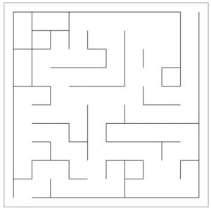 Imperfect maze that contains loops, inaccessible areas, and may have more than one solution